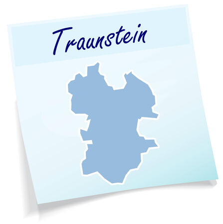 lake district: Map of traunstein as sticky note in blue Illustration