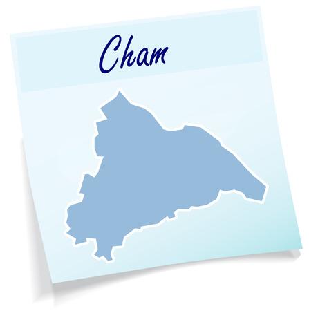Kaart van cham als notitie in blauw