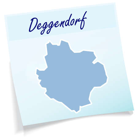 Map of deggendorf as sticky note in blue Illustration