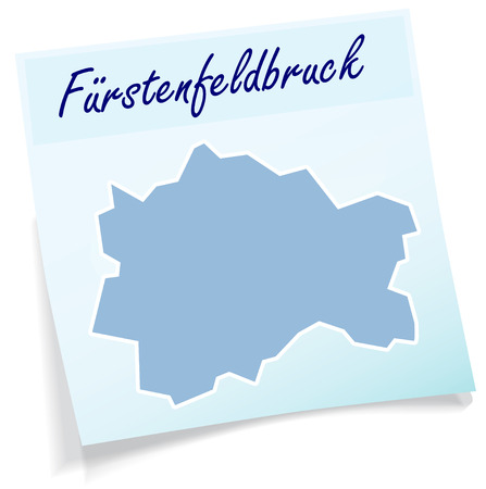 alling: Map of Fuerstenfeldbruck as sticky note in blue