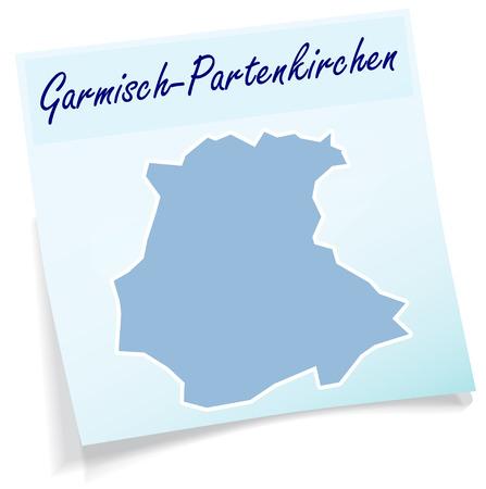 ettal: Map of Garmisch-Partenkirchen as sticky note in blue