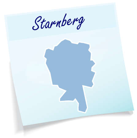 Map of Starnberg as sticky note in blue Illustration