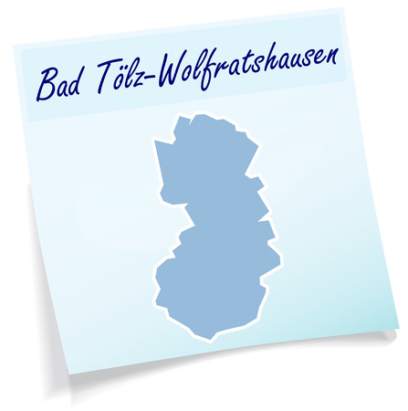 lake district: Map of Bad Toelz Wolfratshausen as sticky note in blue