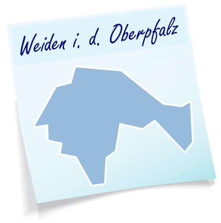 Map of Weiden as sticky note in blue Illustration