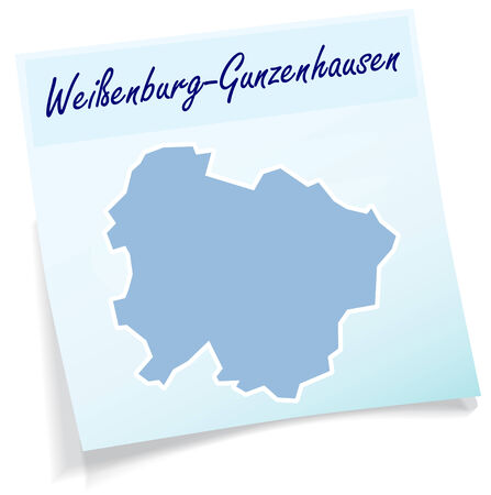 lake district: Map of Weissenburg-Gunzenhausen as sticky note in blue