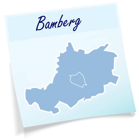 li: Map of Bamberg as sticky note in blue