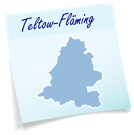 Map of Teltow-Flaeming as sticky note in blue Illustration