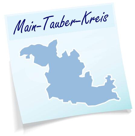 wertheim: Map of Main-Tauber-Kreis as sticky note in blue