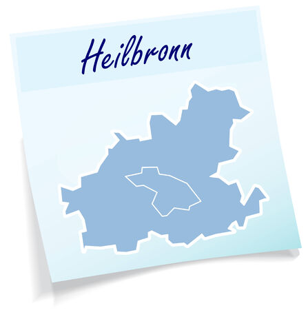 Map of Heilbronn as sticky note in blue