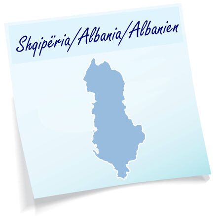 Map of Albania as sticky note in blue