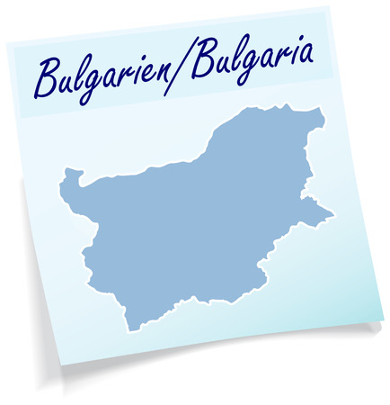 Map of Bulgaria as sticky note in blue