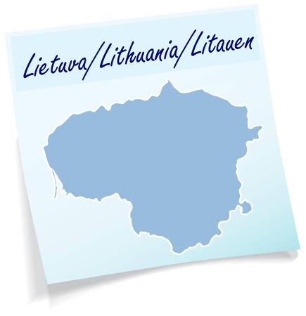 kaunas: Map of Lithuania as sticky note in blue