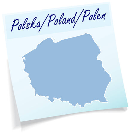 wroclaw: Map of Poland as sticky note in blue