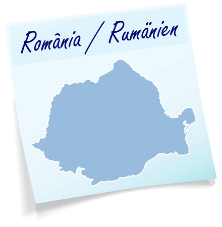 Map of Romania as sticky note in blue