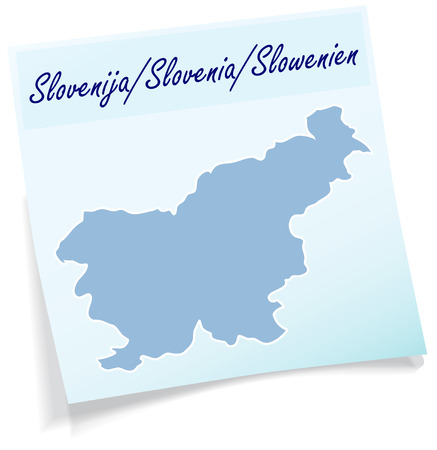 Map of Slovenia as sticky note in blue