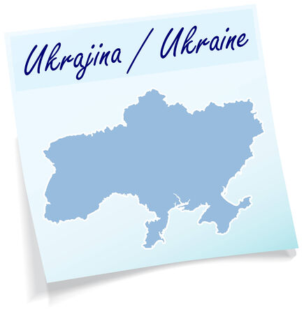 stickies: Map of Ukraine as sticky note in blue