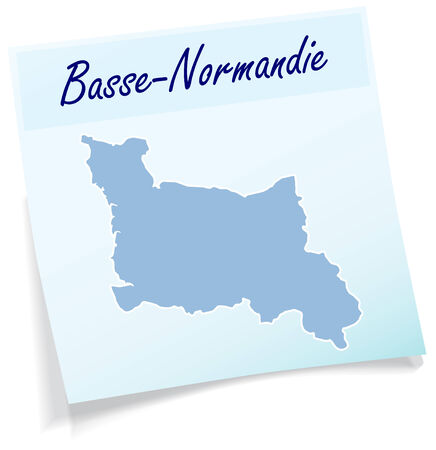 normandy: Map of Lower Normandy as sticky note in blue Illustration