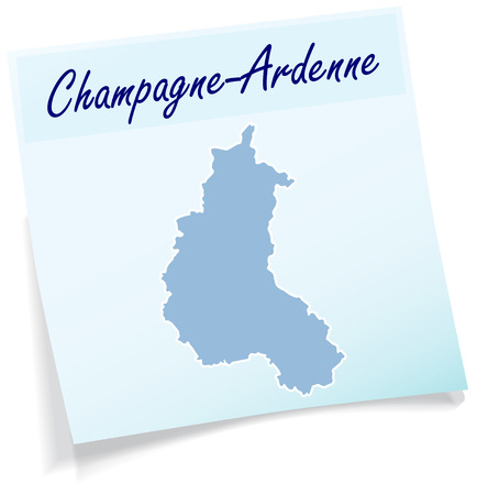 Map of Champagne-Ardenne as sticky note in blue Illustration