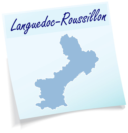 Map of languedoc-roussillon as sticky note in blue
