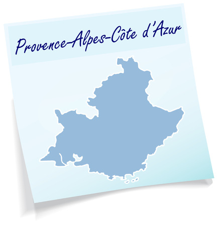 d���azur: Map of Provence-Alpes-Cote d Azur as sticky note in blue Illustration