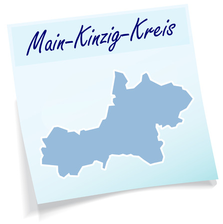 Map of Main-Kinzig-Kreis as sticky note in blue Ilustrace