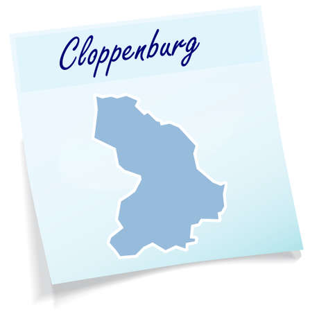 Map of Cloppenburg as sticky note in blue