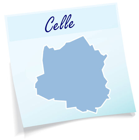 Map of Celle as sticky note in blue Illustration