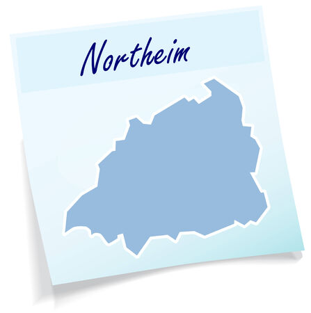 Map of Northeim as sticky note in blue