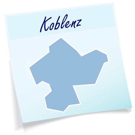 Map of koblenz as sticky note in blue