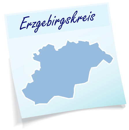 Map of Erzgebirgskreis as sticky note in blue