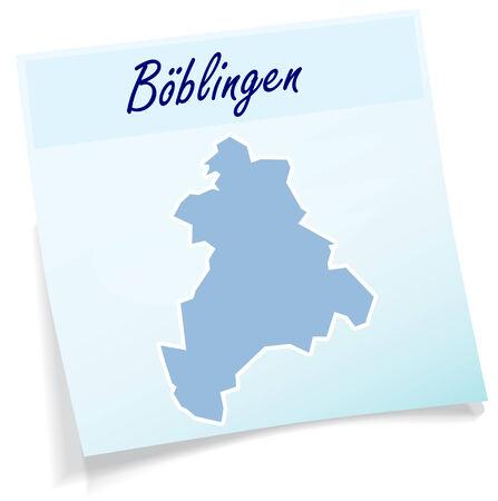 rut: Map of Boeblingen as sticky note in blue
