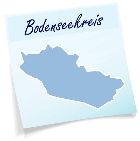friedrichshafen: Map of Bodenseekreis as sticky note in blue