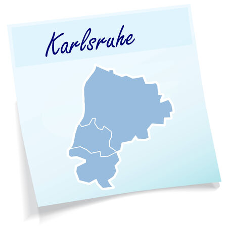 karlsruhe: Map of Karlsruhe as sticky note in blue