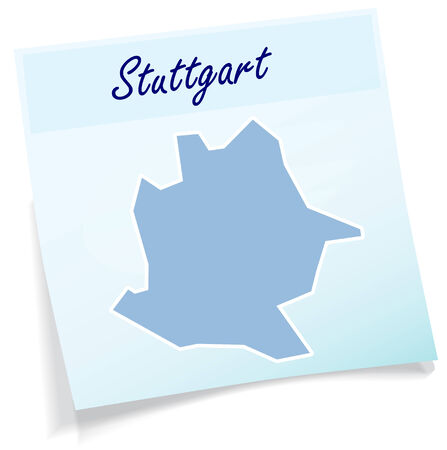 Map of Stuttgart as sticky note in blue Illustration