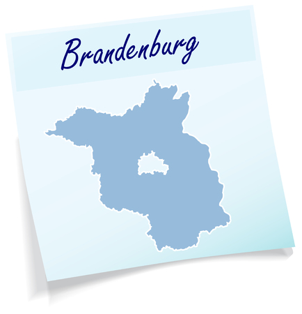falkensee: Map of Brandenburg as sticky note in blue