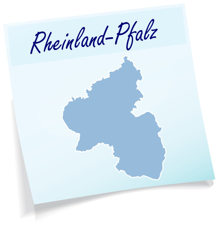 stickies: Map of Rhineland-Palatinate as sticky note in blue Illustration
