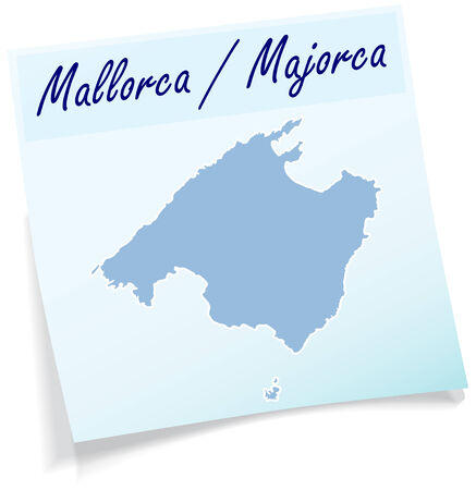 majorca: Map of mallorca as sticky note in blue