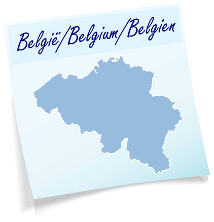 Map of Belgium as sticky note in blue Illustration