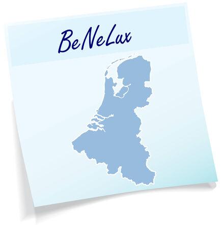 Kaart van Benelux als notitie in blauwe Stock Illustratie