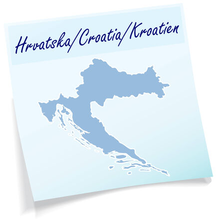 Map of Croatia as sticky note in blue