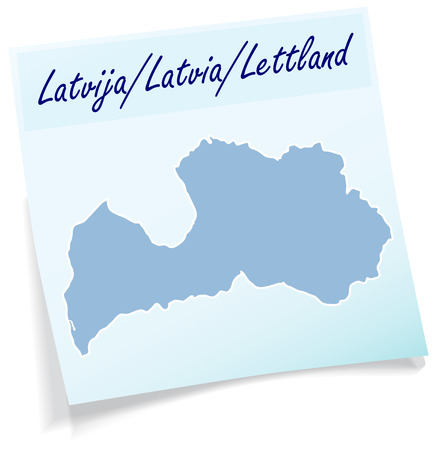 Map of Latvia as sticky note in blue