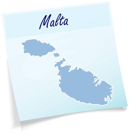 malta: Kaart van Malta als notitie in het blauw Stock Illustratie
