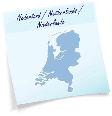 Kaart van Nederland als notitie in het blauw