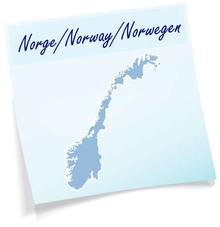 fredrikstad: Map of Norway as sticky note in blue