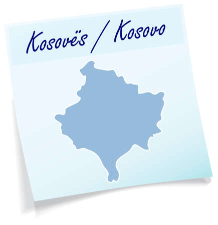 stickies: Map of Kosovo as sticky note in blue