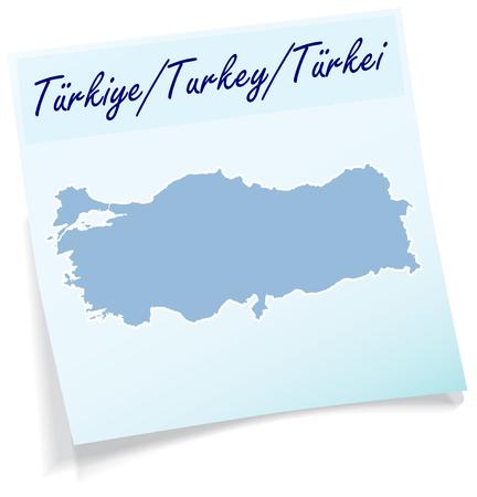 bursa: Map of Turkey as sticky note in blue