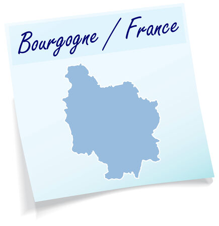 leu: Map of Burgundy as sticky note in blue