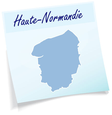 normandy: Map of Upper Normandy as sticky note in blue