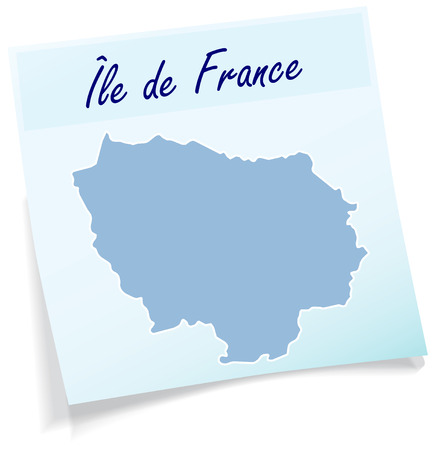 versailles   france: Map of Ile-de-France as sticky note in blue