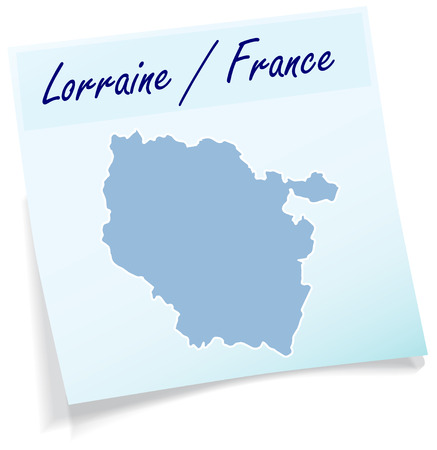 Map of lorraine as sticky note in blue